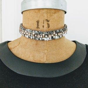 Stella & Dot Blaire Beaded Ribbon Necklace